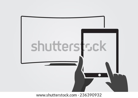 Hands holing tablet computer with blank screen. Tablet computer is connected to curver television. - stock vector