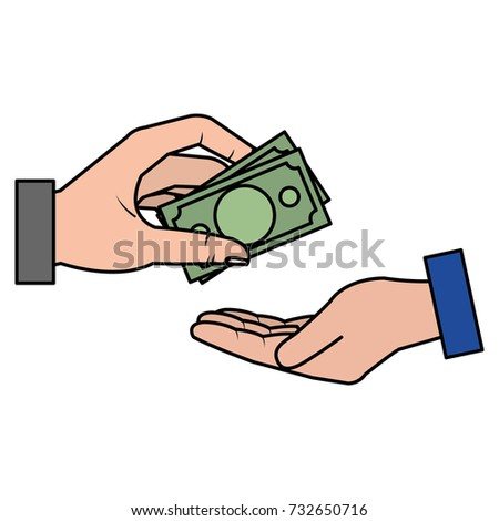 hands human with bills money isolated icon