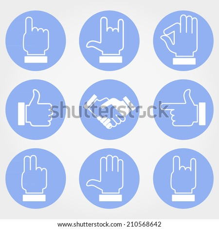 Hands. Icons. Set. - stock vector