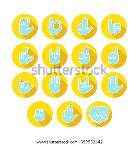 Hands icons set 6