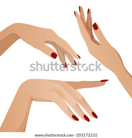 Hands in different interpretations,vector - stock vector