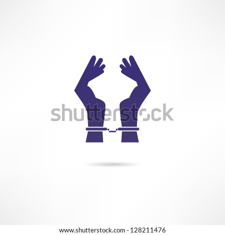 Hands in handcuffs icon - stock vector