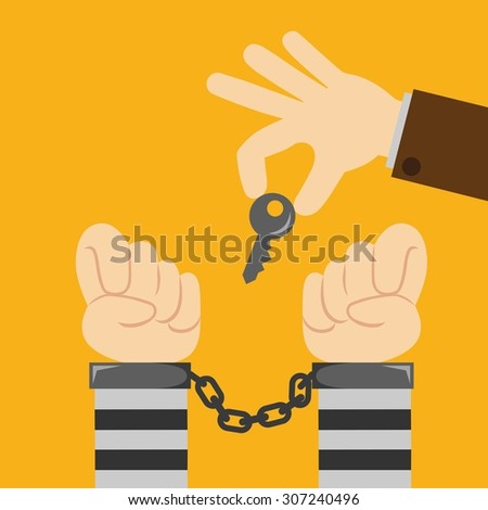 hands in handcuffs (man hands with handcuffs) - stock vector