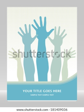 Hands in the air design with text space.  - stock vector
