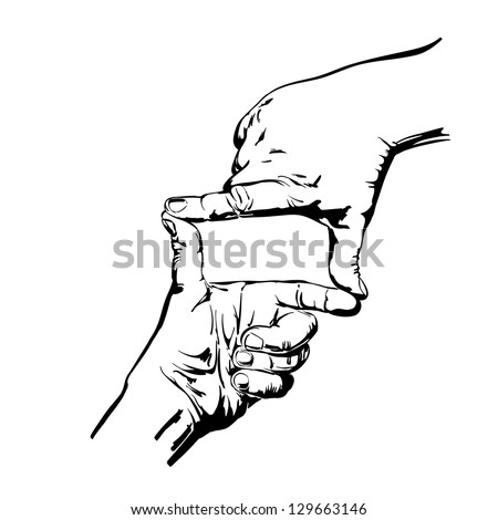 hands making frame isolated vector illustration realistic sketch - stock vector