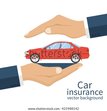 Hands male insurance agent protects car. Concept car insurance. Vector illustration, flat design. Protection car. Safety of car. Security service for the car. - stock vector