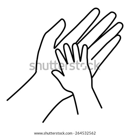 Hands of adults and children, Communicating of love.  - stock vector