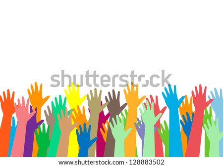 hands of different colors. cultural and ethnic diversity, vector illustration - stock vector