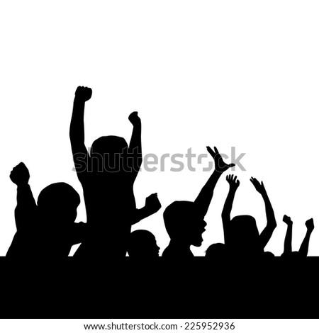 hands of people background frame. Cheerleaders. fans. Vector  - stock vector