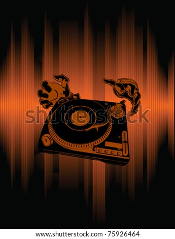 Hands Of The DJ Over Brown Background. An abstract illustration. No Meshes. - stock vector