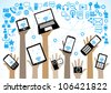 hands of the people hold the phone, laptop, tablet and surrounded by icons of the Internet - stock photo