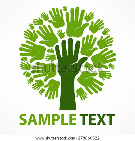 Hands of tree in green color on white & text, vector illustration - stock vector