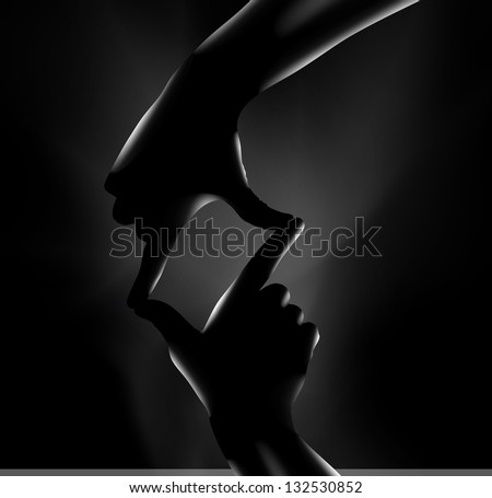 Hands on a black background. Vector illustration - stock vector