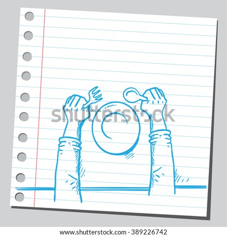 Hands on table holding fork and spoon - stock vector