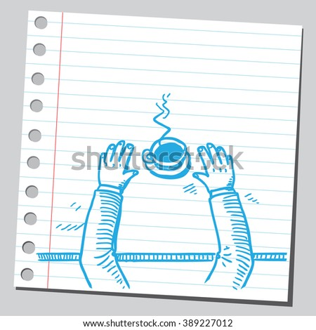 Hands on table with coffee - stock vector