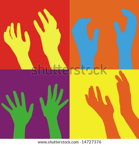 Hands open in prayer isolated on white background - stock vector
