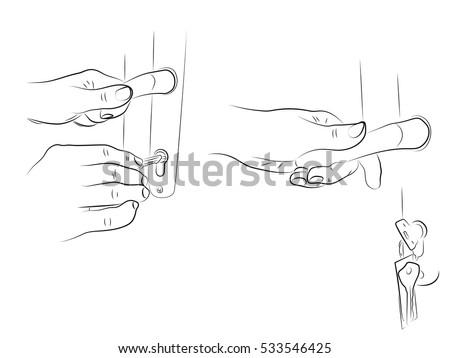 open door pencil drawing. Hands Open The Door, Black And White Pencil Drawing, Door Lock, House Keys Drawing