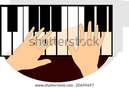 hands playing piano buttons