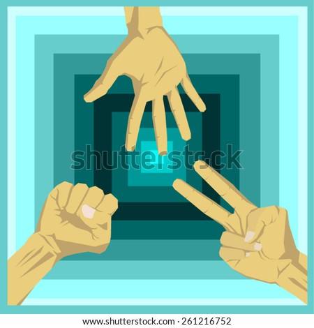 Hands playing rock scissors paper - stock vector