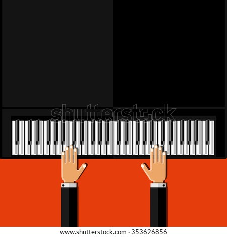 Hands playing the grand piano. Flat design. Vector illustration. - stock vector