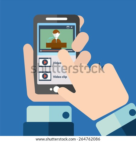 Hands playing video on smart phone. - stock vector