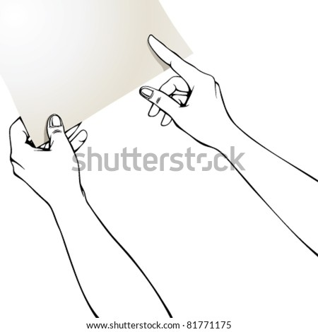 Hands pointing finger on blank paper, put there your text or photo, it can't be left such empty. Whole sheet is in clipping mask outside work area. - stock vector