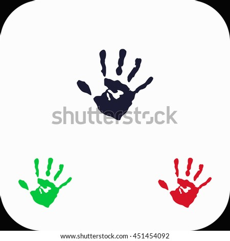Hands print Illustration set. Blue, green, red icon.