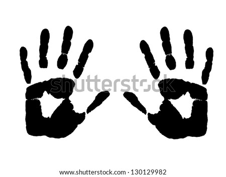 Hands  print on white background, vector illustration - stock vector