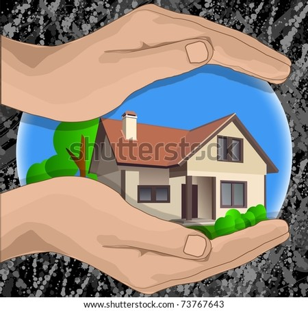 hands protect a house from a danger