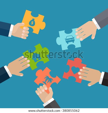 Hands put five jigsaw puzzle pieces together. The problem solution concept. Insurance concept. Vector illustration