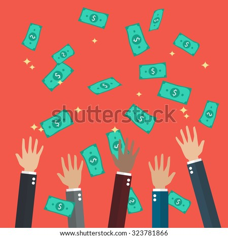 Hands raised throwing and catching money in the air. Flat style design - stock vector