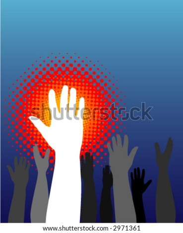 Hands raised to vote or ask a question - stock vector