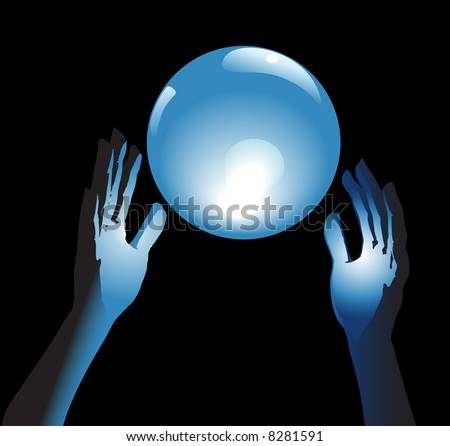 Hands reach for a shiny, crystal ball in blue glow, a backround for fortune, forecast, answers to questions. - stock vector