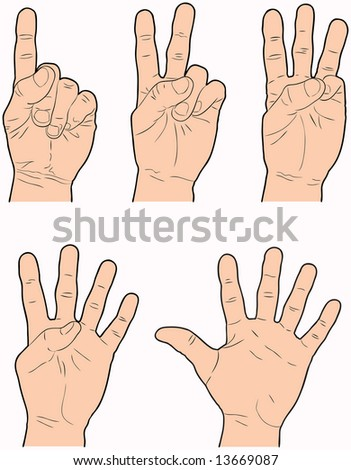 Hands representing the numbers 1 through 5 using fingers. - stock vector