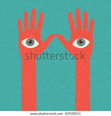 Hands. Retro poster - stock vector