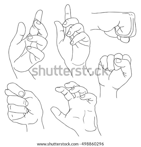 Hands set outline part 5. Fico, claw, fist, plea, up, and others.