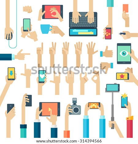 Hands set with gadgets. Vector illustration. - stock vector