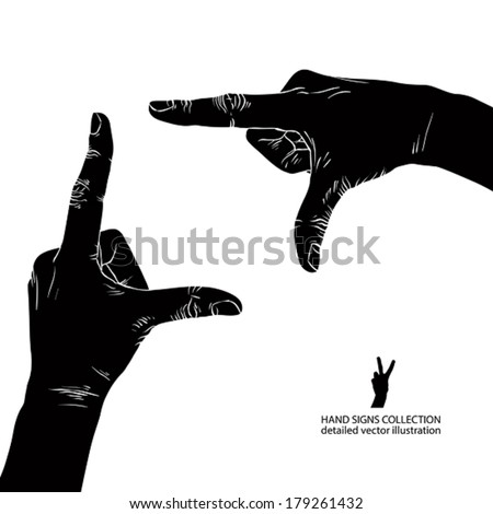 Hands shaped in viewfinder, detailed black and white vector illustration. - stock vector
