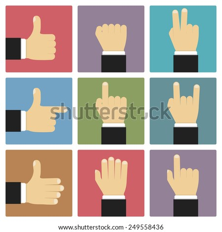 Hands showing different symbols, flat design, vector eps10 illustration