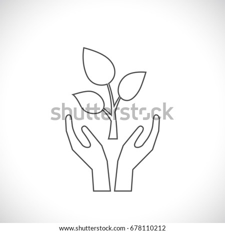 hands support sprout - concept outline icon
