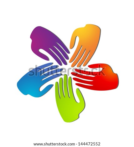Hands teamwork as flower app social media vector - stock vector