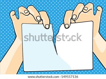 Hands tearing paper - stock vector