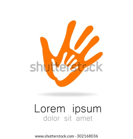 Hands - template logo for the team, fund, association, community. Graphic idea for a company or a social project. - stock vector