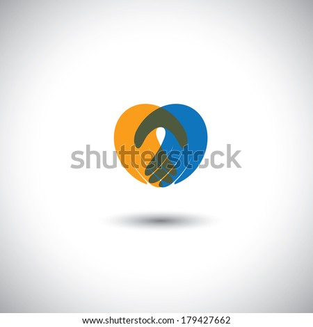 hands together - concept vector of partnership, meeting, greeting. This graphic illustration also represents company employees meeting, corporate partnership, love & passion, heart icon - stock vector