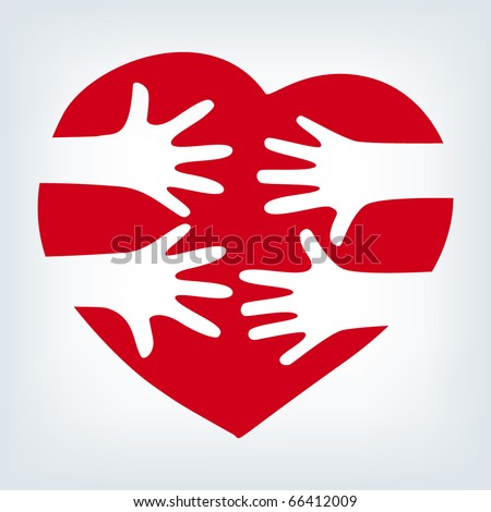 Hands together over heart. Vector. - stock vector