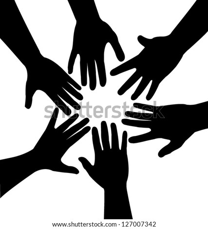 hands together, vector - stock vector