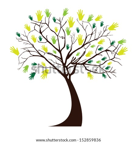 hands tree over white background vector illustration