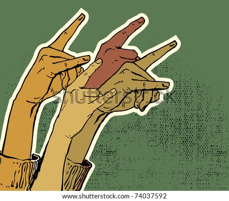 hands up showing rock sign grunge illustration - stock vector