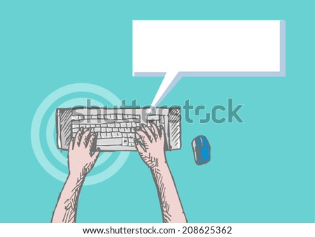 Hands using Wireless Keyboard  - stock vector