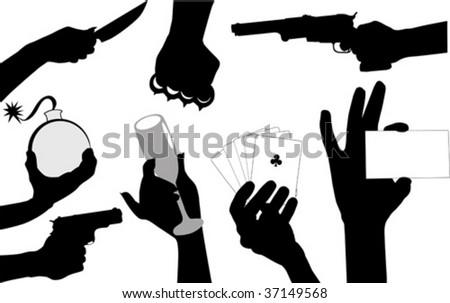 Hands various gestures showing on fingers; - stock vector